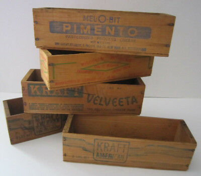 5 Vintage Wooden Cheese Boxes