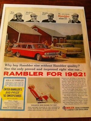 Vintage 1962 Rambler Auto You Pick Farm Print Art ad