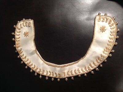 Vintage Women's Satin and Pearl Beaded Collar Hand Made TOP HIT BAAR & Beards