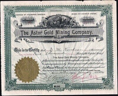 Cripple Creek, Co., Astor Gold Mining Co, 1896, Uncancelled Stock Certificate
