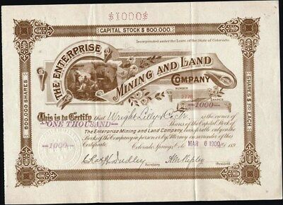 Cripple Creek, Co., Enterprise Mining And Land Co, 1900, Uncancelled Stock Cft.
