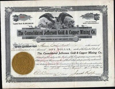 Consolidated Jefferson Gold & Copper Mining Co, Salt Lake County, Utah, 1902