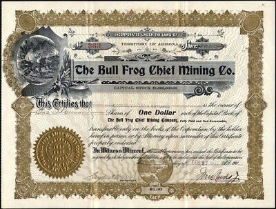 Bull Frog Chief Mining Co, Of Nevada, 1907, Uncancelled Stock Certificate