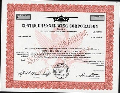 Custer Channel Wing Corporation Specimen, Mint Condition