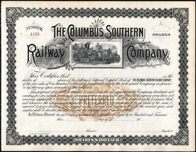 Columbus Southern Railway Co, 18--, Preferred, Unissued, Crisp Stock Certificate