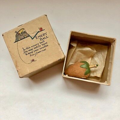 Emery Ball Box and Strawberry Emery Vintage Sewing