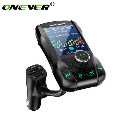 "Onever Car Bluetooth FM Transmitter 1.8"" Color Screen Hand-Free MP3 Player AUX"