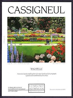 """1989 Jean-Pierre Cassigneul """"Bagatelle"""" (The Grand Parc) Mass. Gallery print ad"""
