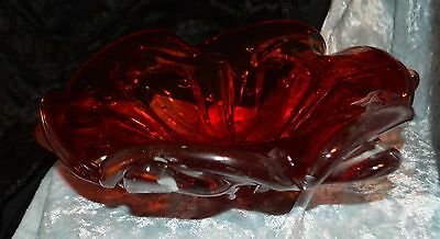 Beautiful Red & Amber Glass Bowl looks handcrafted into shape of Flower Bowl
