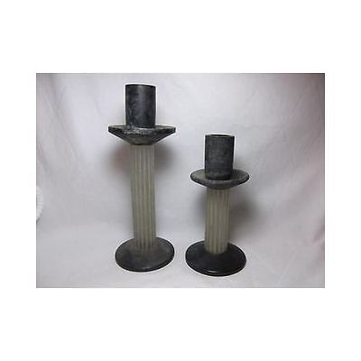 Antique Pair ART DECO GLASS PILLAR CANDLE HOLDERS tapered Iridescent Black