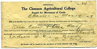 1919 Clemson Agricultural College Permit Movement Of Cattle Charleston F L Hope