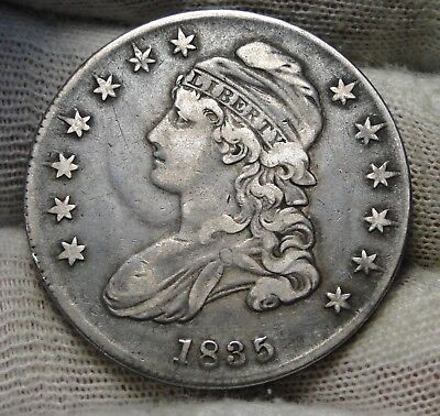 1835 Capped Bust Half Dollar 50 Cents - Nice Coin Free Shipping  (7342)