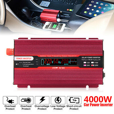 4000W Car Power Inverter DC 12V/24V To AC 110V/220V Modified Sine Wave Converter