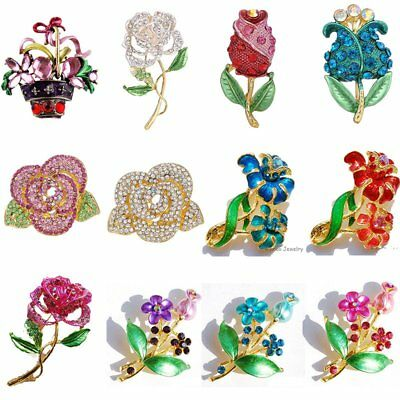 Wedding DIY Bouquet Crystal Flower Brooch Pin Corsage Women Jewelry Gift Party
