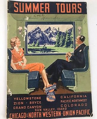 Vintage 1939 Summer Tours On Chicago & North Western Union Pacific Railroad