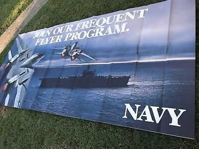 Vintage Large 3 Piece NAVY Recruiting Banner Or Poster Frequent Flyer 130 X 60