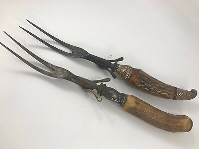 Pair Of Antique Victorian Era Stag Antler Handle Meat Forks With Sterling Silver