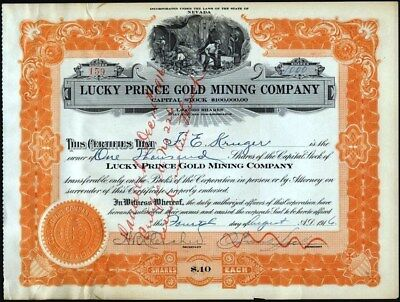 Lucky Prince Gold Mining Co Of Nevada, 1916 Cancelled Stock Certificate