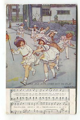 Dorothy Wheeler - Girls and Boys Come Out to Play - 1930s nursery rhyme postcard