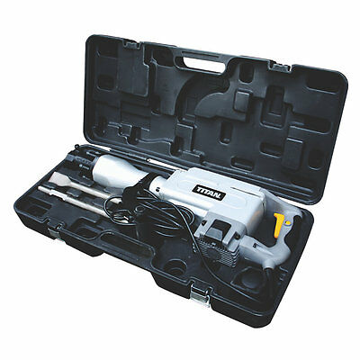 TITAN TTB280 DRH DEMOLITION HAMMER BREAKER 240v C/W NEW POINT, CHISEL & CASE