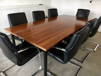 Boardroom Table (2.4m x 1.2m Timber / 8 Seater) Chairs included - Urgent Sale