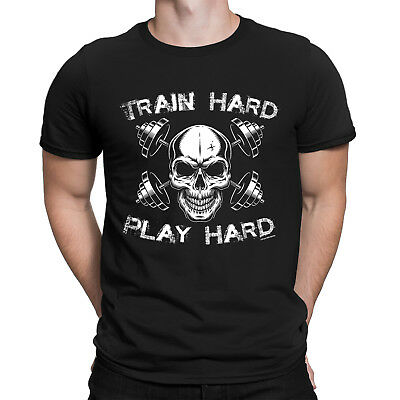 TRAIN HARD PLAY HARD Mens Funny Gym T-Shirt Bodybuilding Workout Training Top