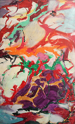 Vintage abstract expressionism oil painting signed