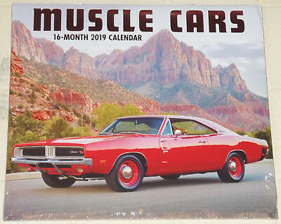 "2019 ""muscle Cars"" 16 Month Wall Calendar--22""x12""--Factory Sealed!!!"