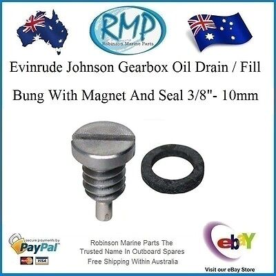 New Evinrude Johnson Gearbox Oil Drain / Fill Bung With Magnet # 318544