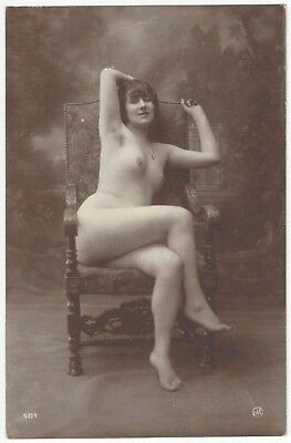 1917 French NUDE Photograph by Jean Agelou, Provocative Pose & Underarm Hair