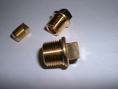 Brass Bspt Taper Thread Male End Blanking Stop Plug Cap Square Drive All Sizes