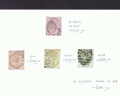 GB Queen Victoria 1881 1d lilac 14 dots and 1883-84 3d 4d and 5d used cv £555