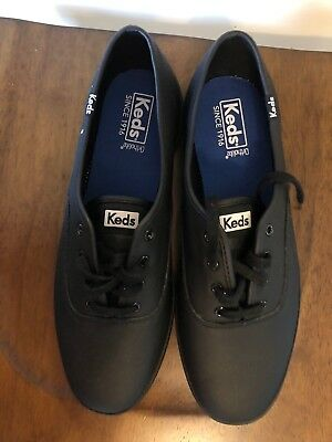 44df5335caee8 Keds Women s 9.5 Wide Champion Originals Leather Black WH45780 L4-CH59  Sneakers