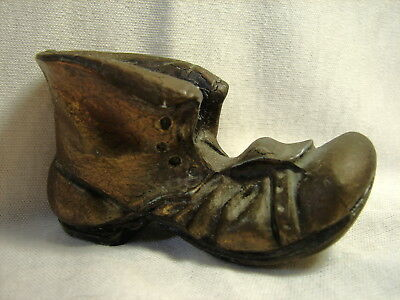 Vintage Small Untied Hobo Shoe Brass Bronze Cast Iron Decorative Paperweight