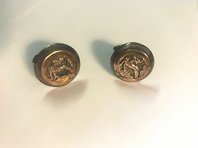 Sterling Silver Cufflinks With 14kt Gold Made In Greece