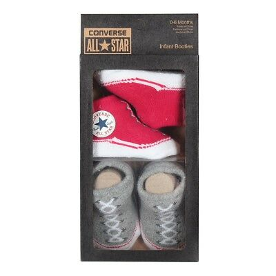 Converse All Star Baby 2-er Geschenk-Set Socken Booties Chucks 0-6 Mon rot-grau