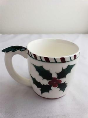 =Vintage Lefton's Hand Decorated Holly Berry Leaf coffee/tea cup Japan #210 1955