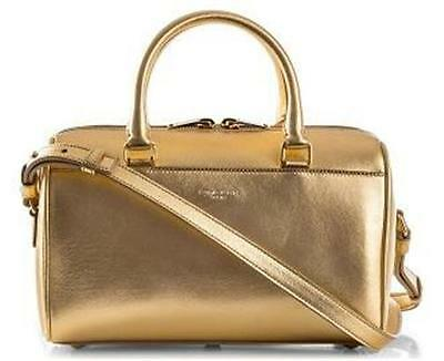 YSL Yves Saint Laurent Metallic Gold Leather Duffle Toy Crossbody Bag  1550 7f650999691c9