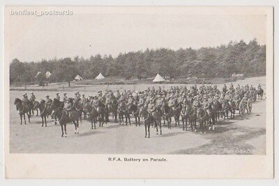 Early Postcard Military Solrs R F A Battery On Parade