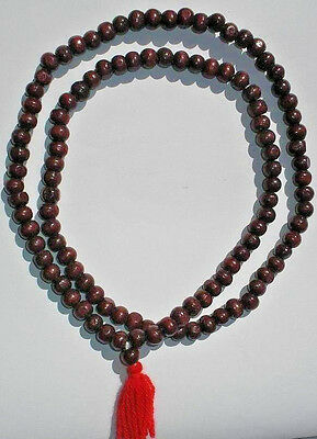 2X 110 RED SANDALWOOD BEAD NECKLACE INDIA Extremley RARE