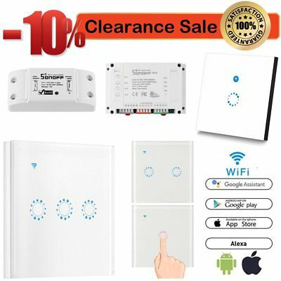 WIFI Smart Wall Light Touch Panel Switch App Timing Socket For Alexa Google ES