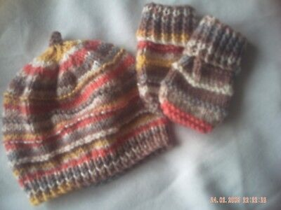 Hand Knitted Multi Coloured Hat And Mittens Size 0-3 Months.
