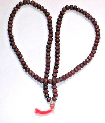 116 + 2 RED SANDALWOOD BEAD NECKLACE INDIA Extremley RARE