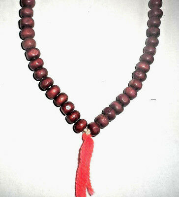 2x 116 RED SANDALWOOD BEAD NECKLACE INDIA Extremley RARE