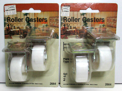 """Lot of 4 Roller Casters 1-5/8"""" Plate White Wheels - NIP - FREE SHIPPING!!!"""