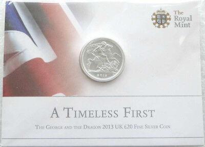 ROYAL MINT The St George and the Dragon 2013 UK £20 Fine Silver Coin Sealed