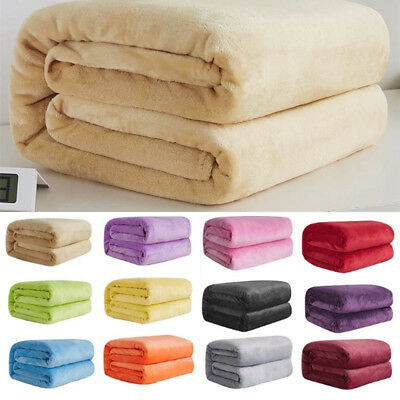 Super Soft Warm Flannel Blanket Micro Solid Plush Fleece Blanket Sofa Throw Rug