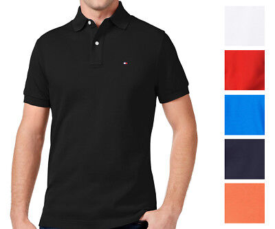f1e602a73 Tommy Hilfiger NEW Custom Fit Men's Solid Short Sleeve Pique Polo Shirt