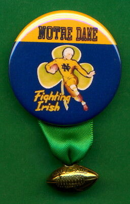 """1955 Style NOTRE DAME NCAA RP *PIN* 1-3/4"""" w/ Copper """"Notre Dame"""" Football Charm"""