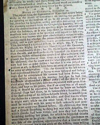 PRELUDE to the Revolutionary War American Colonies 1775 Philadelphia Newspaper
